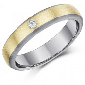 5mm Titanium & 9ct Gold Engagement Ring 0.05ct Diamond Wedding Ring