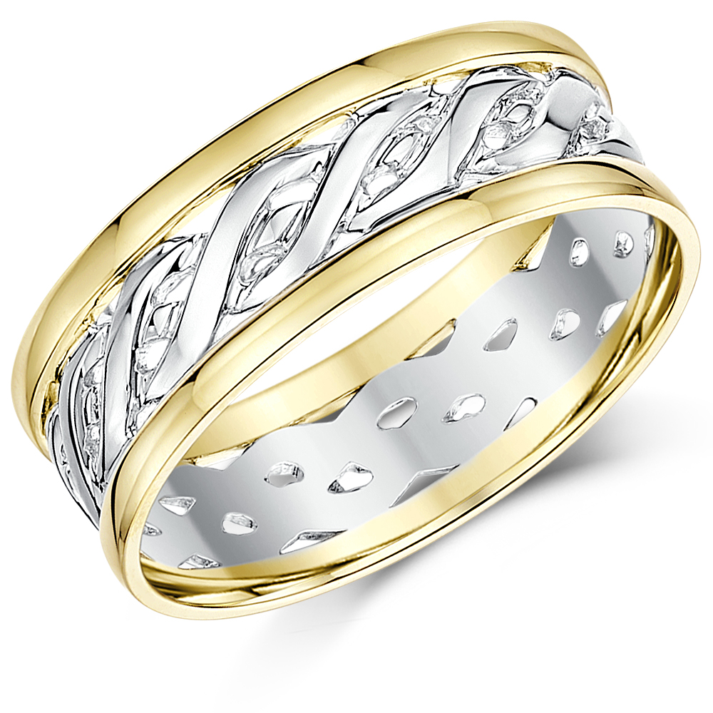 7mm 9ct Yellow & White Gold Two Colour Celtic Wedding Ring